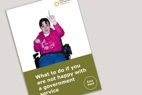 Cover with title for the easy read tips leaflet and an image of a person in a wheelchair